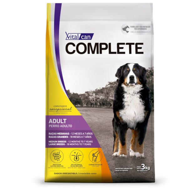 Vitalcan complete perro adulto raza mediana y grande 3 kg