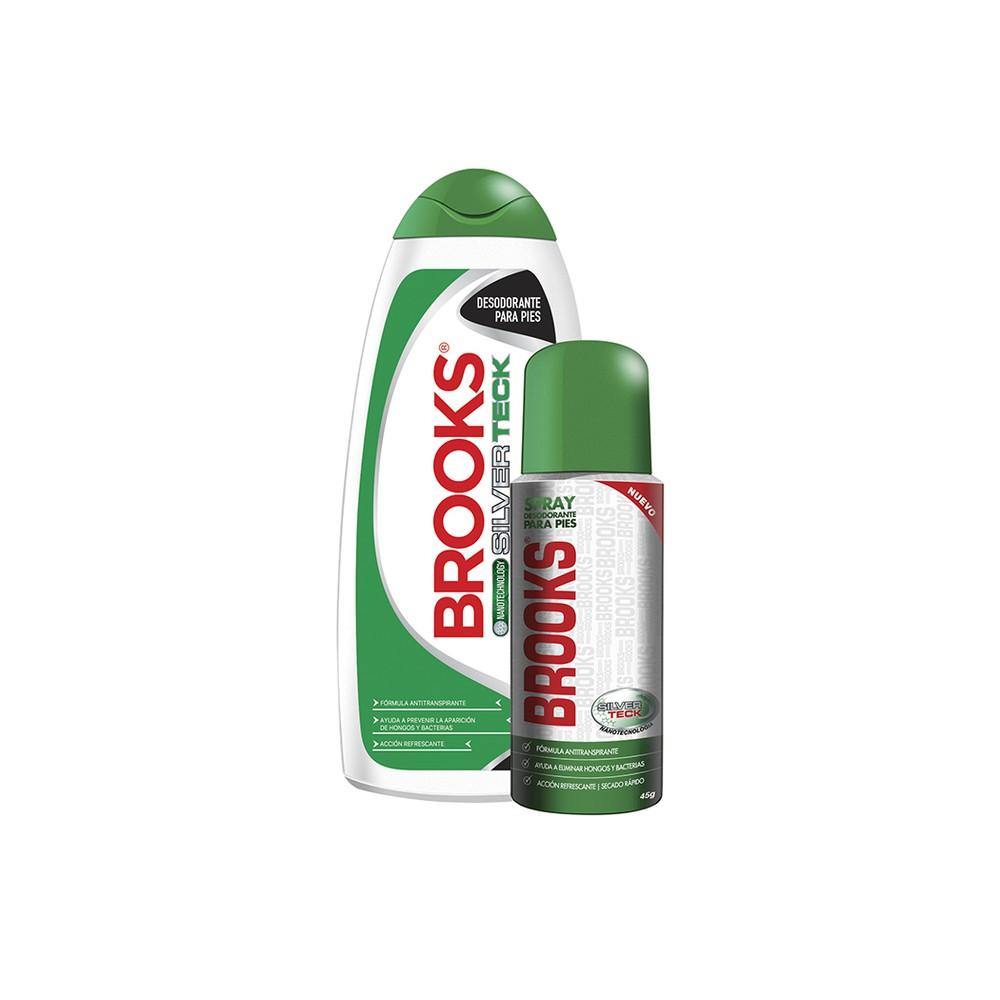 Brooks talco polvo 220gr + talco spray 45gr