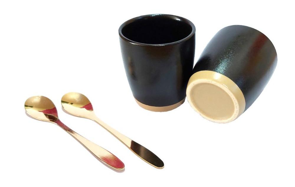 Set2 pocillos cucharas doradas