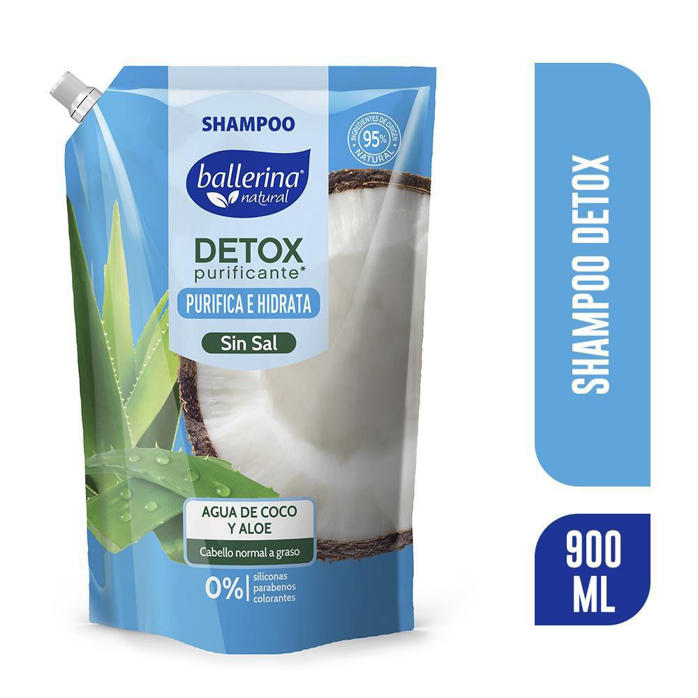 Shampoo detox agua de coco y aloe sin sal