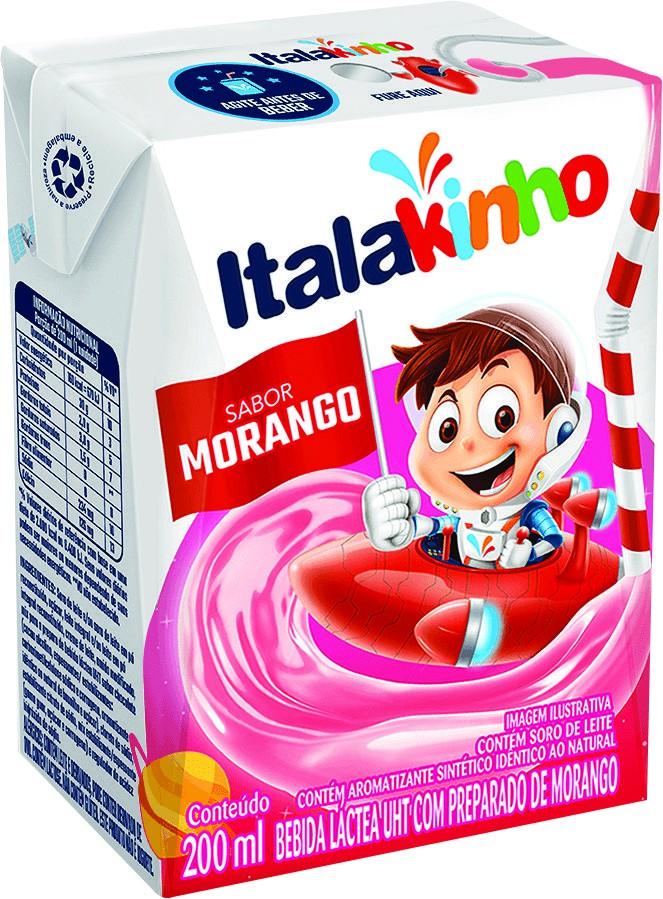 Bebida láctea UHT Italakinho sabor morango