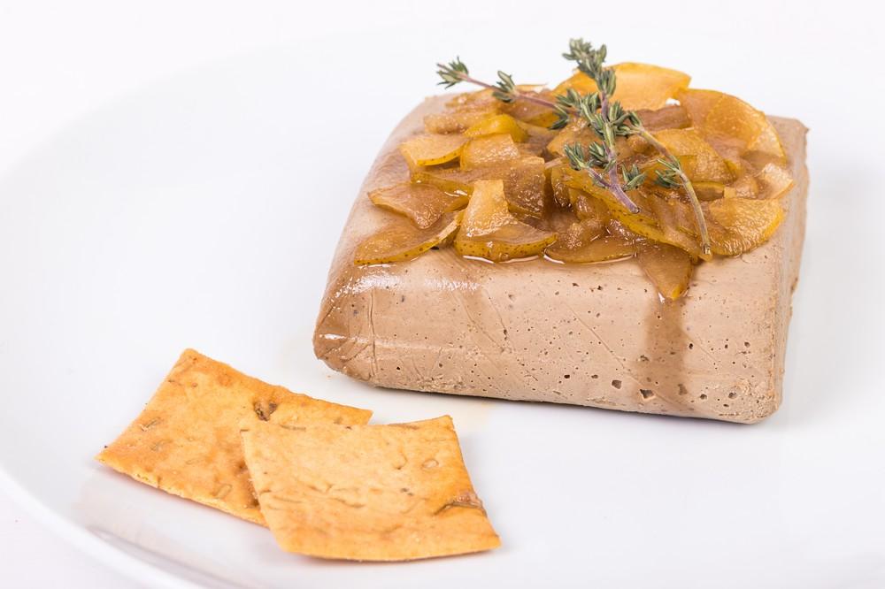 Paté foie + peritas acarameladas