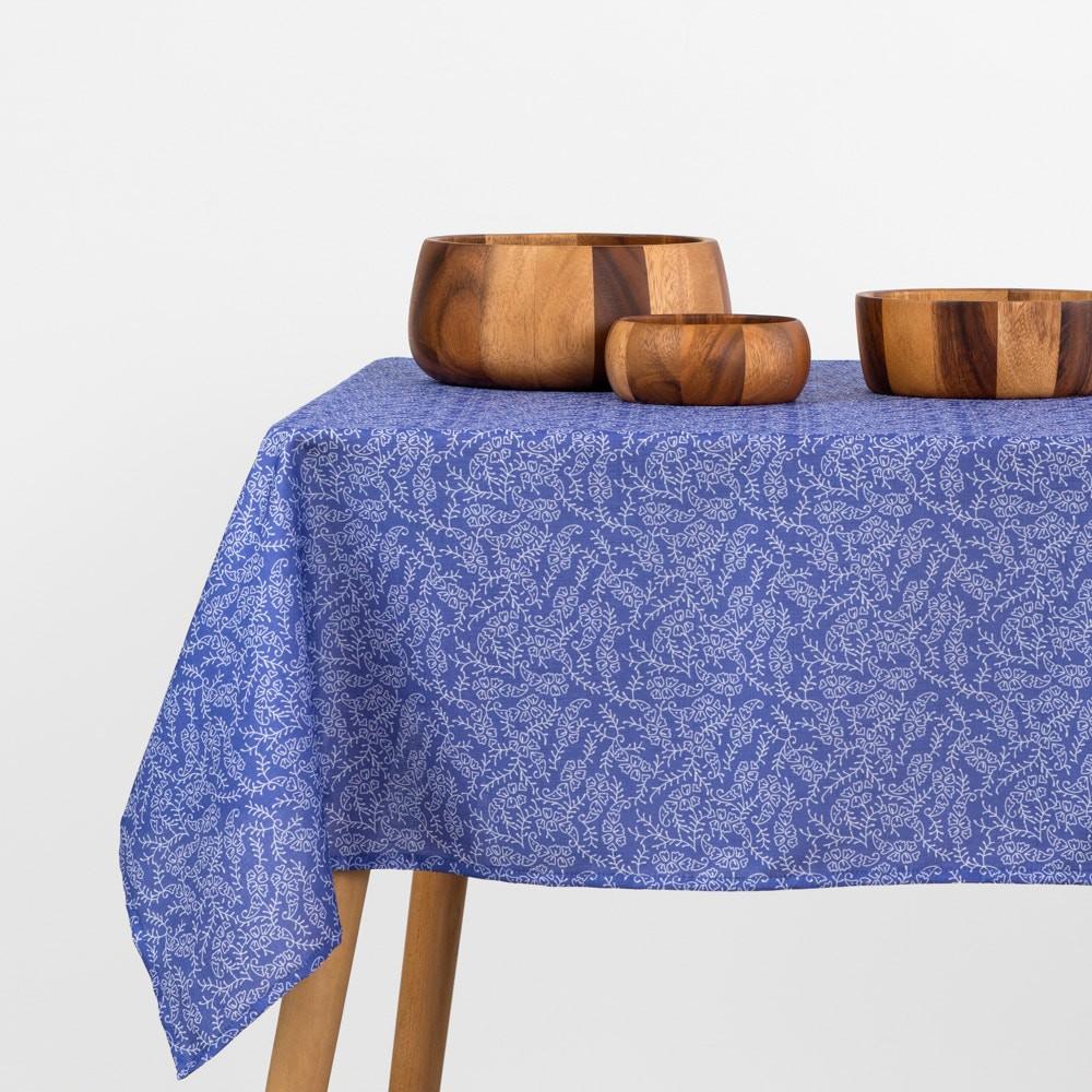 Mantel estampado tela poliéster texturada azul