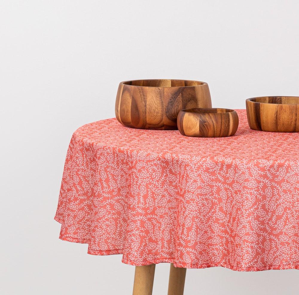 Mantel estampado tela poliéster texturada redondo rojo