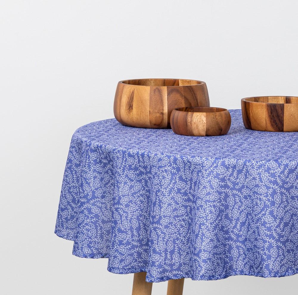 Mantel estampado tela poliéster texturada redondo azul