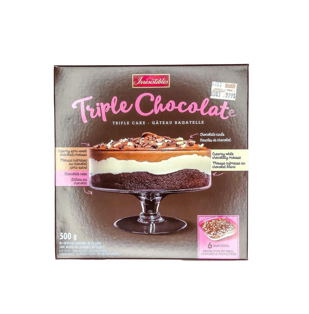 Triple chocolate trifle cake