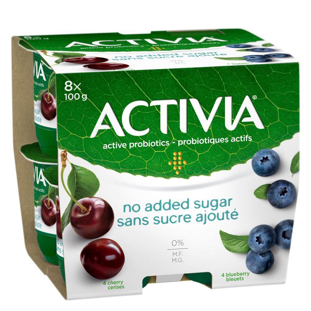 No added sugar yogurt blueberry and cherry