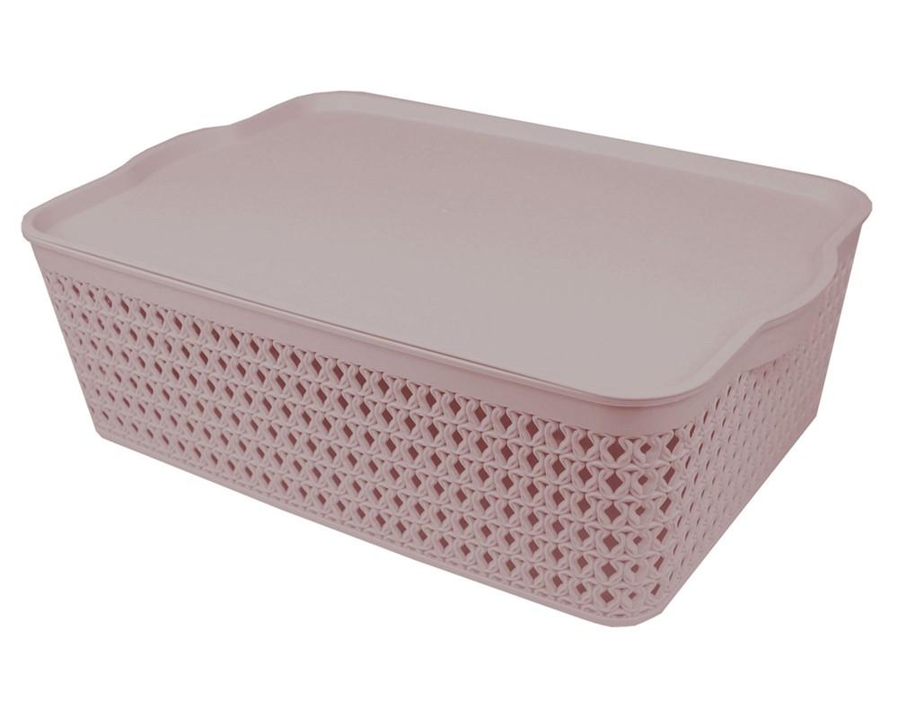 Caja plástica con tapa Knit rosa