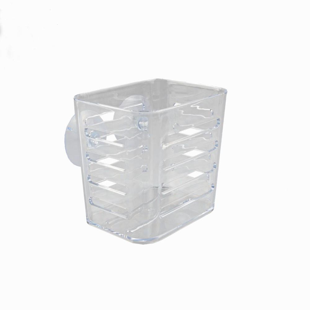 Porta utencilios de cocina de acrílico con ventosas transparente