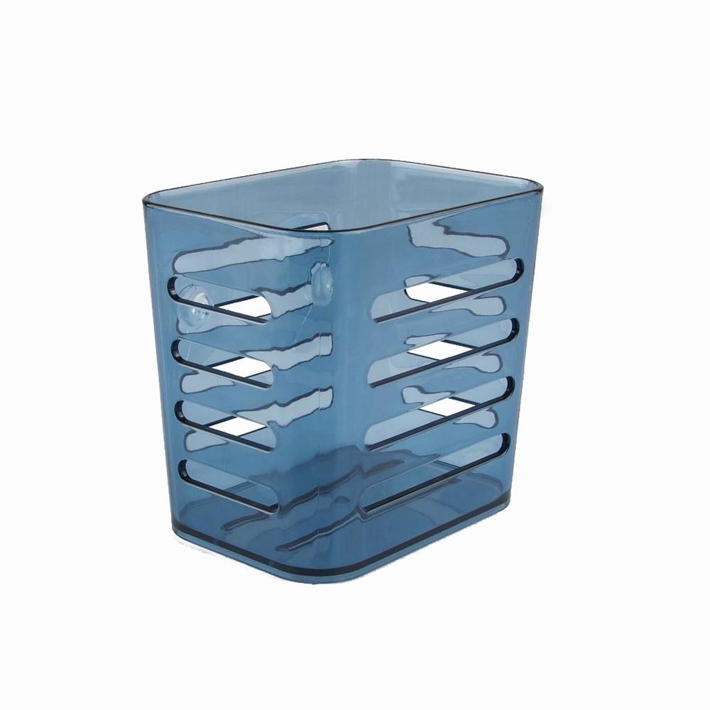 Porta utencilios de cocina de acrílico con ventosas azul