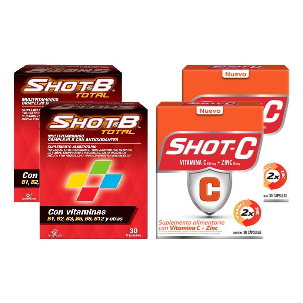 Pack 02 multivitaminico shot b + 02 suplemento shot c