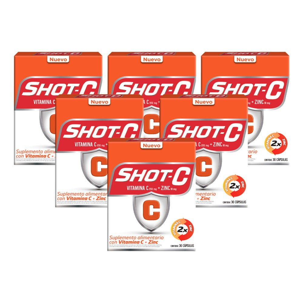 Shot c pack 06 suplemento alimentario 30 compr. c/u