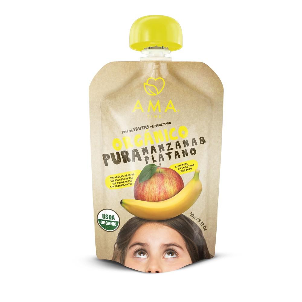 Puré de manzana y plátano orgánico Package de 90 gr