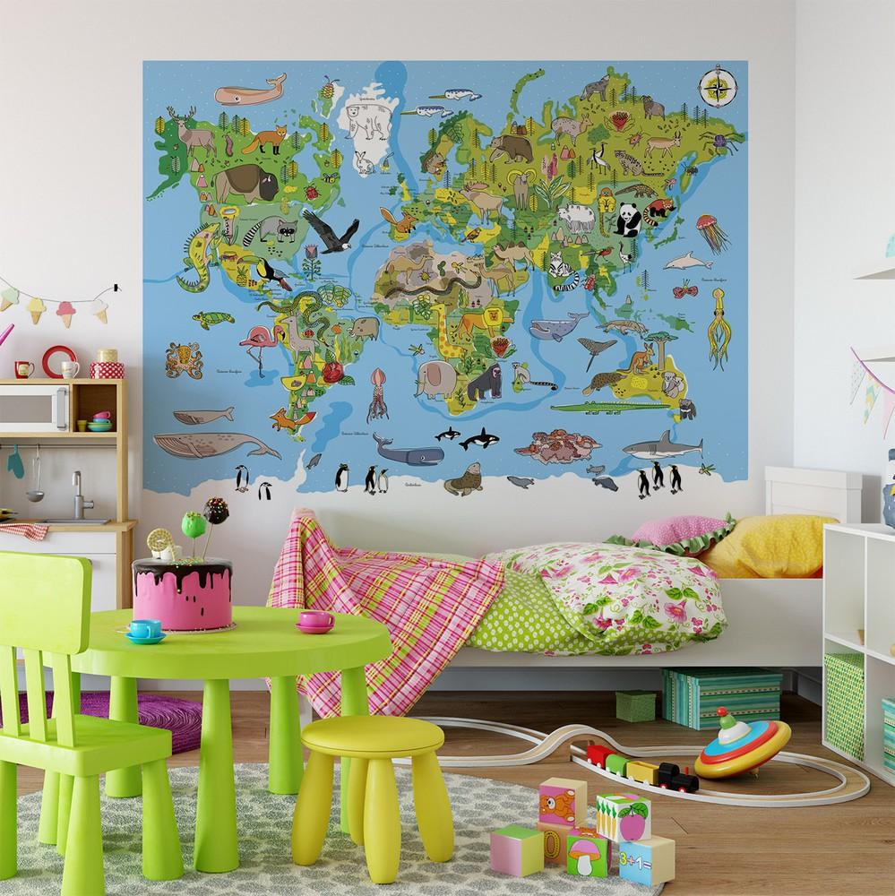 Papel mural mapa del mundo infantil