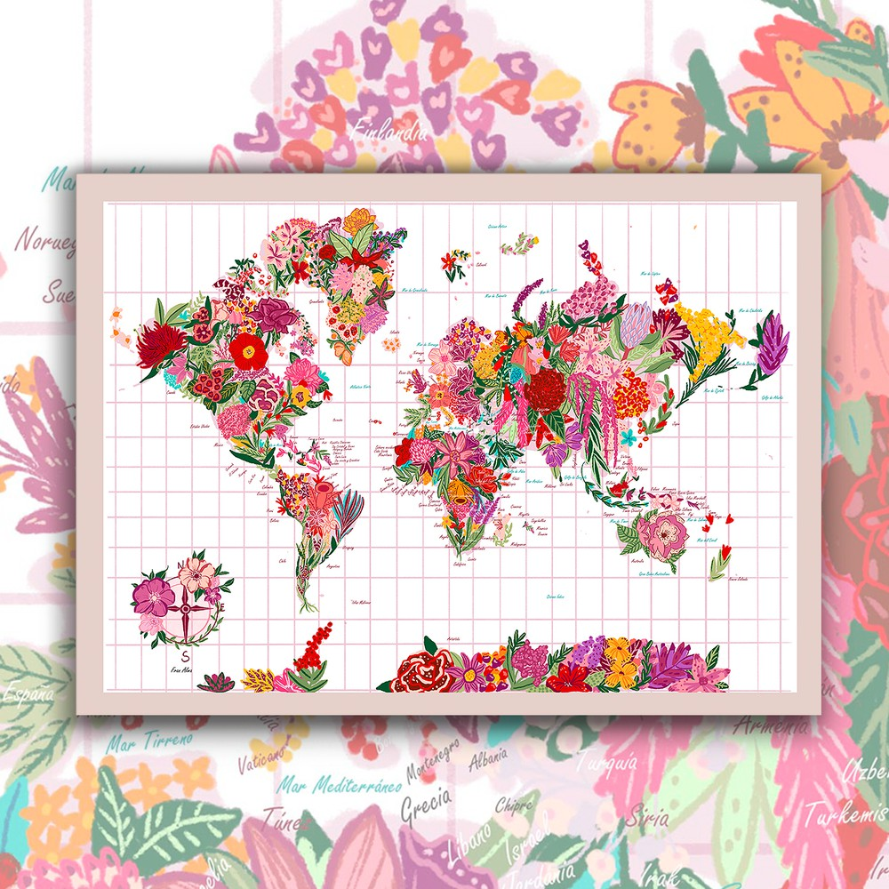 Mapa mundi de flores