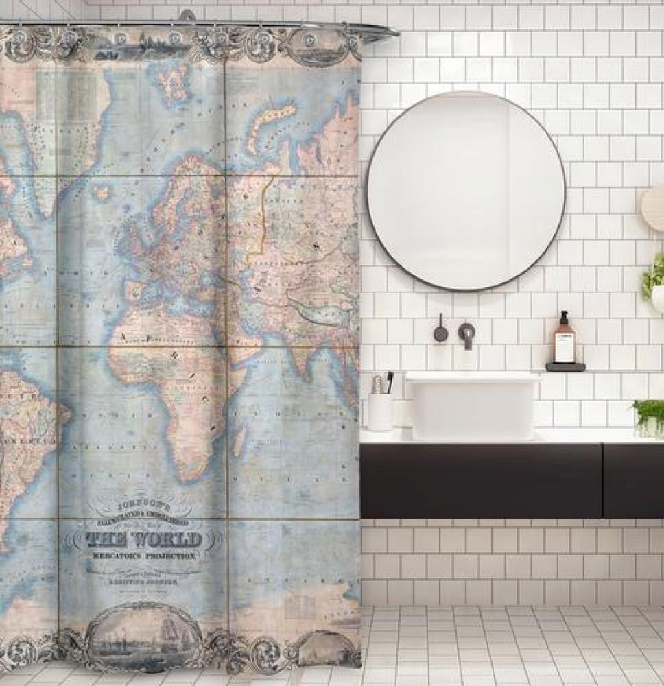 Cortina de baño mapa del mundo 1847