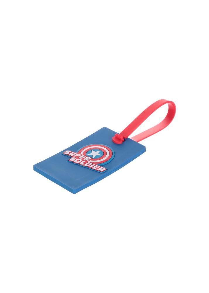 Etiqueta para equipaje rectangular Super soldier Marvel azul
