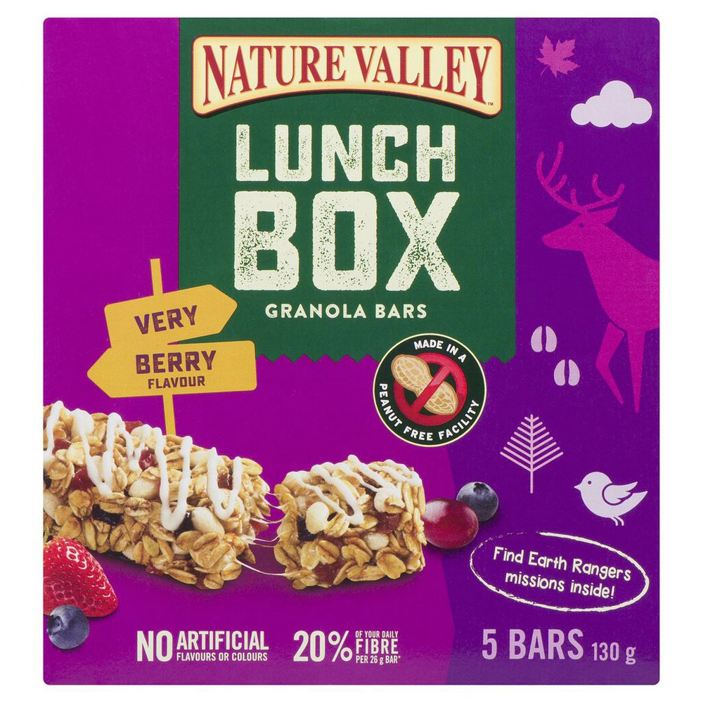 Lunch box chewy granola bars berry