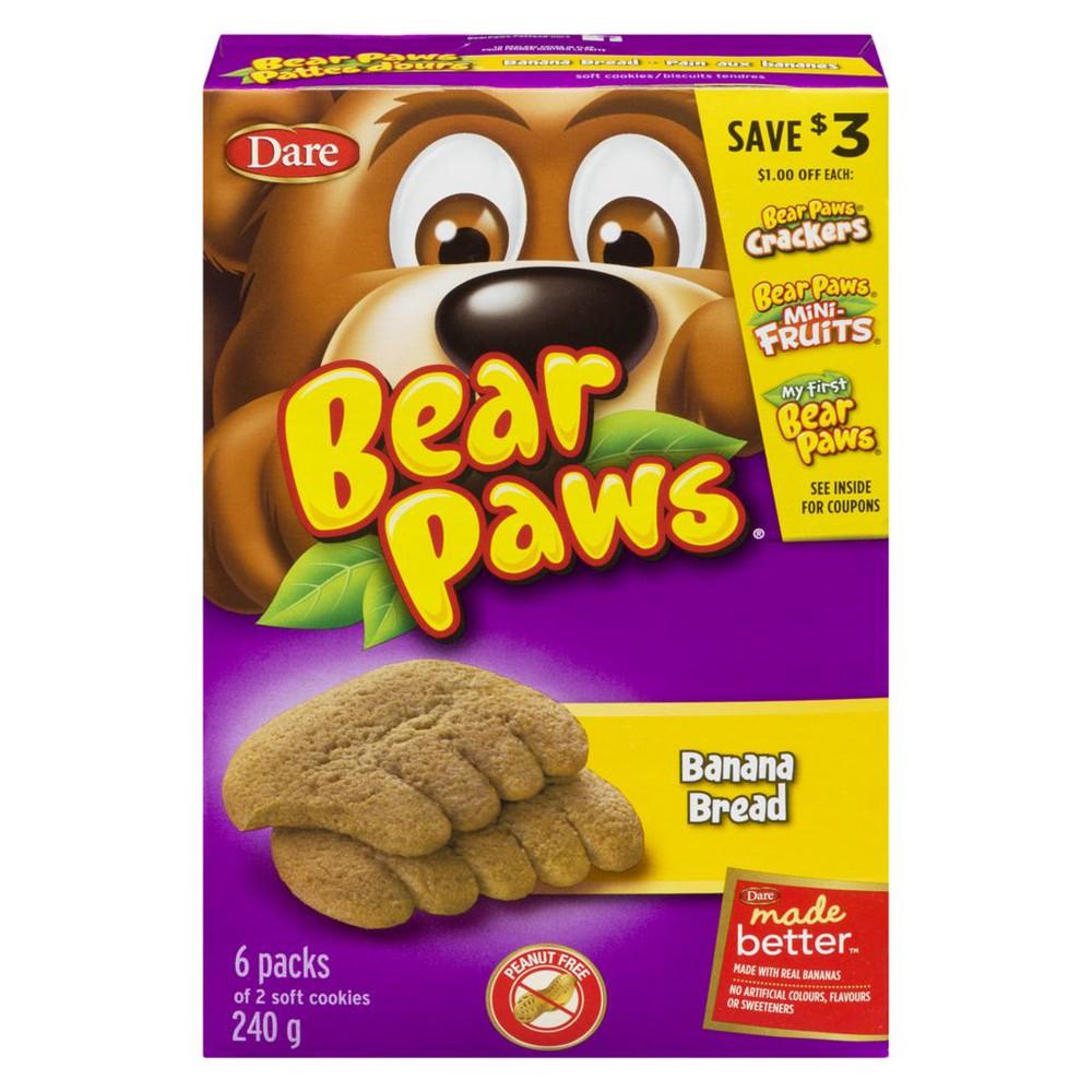 Bear Paws banana bread cookies