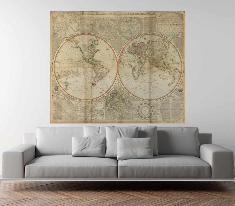 Papel mural mapa del mundo sepia