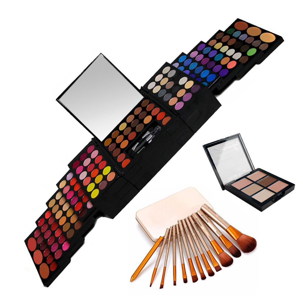 Paleta maquillaje sombras, rubores, labiales + set brochas