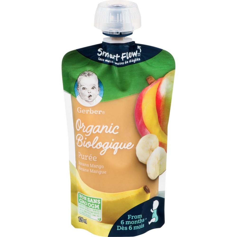 Organic purée banana mango baby food