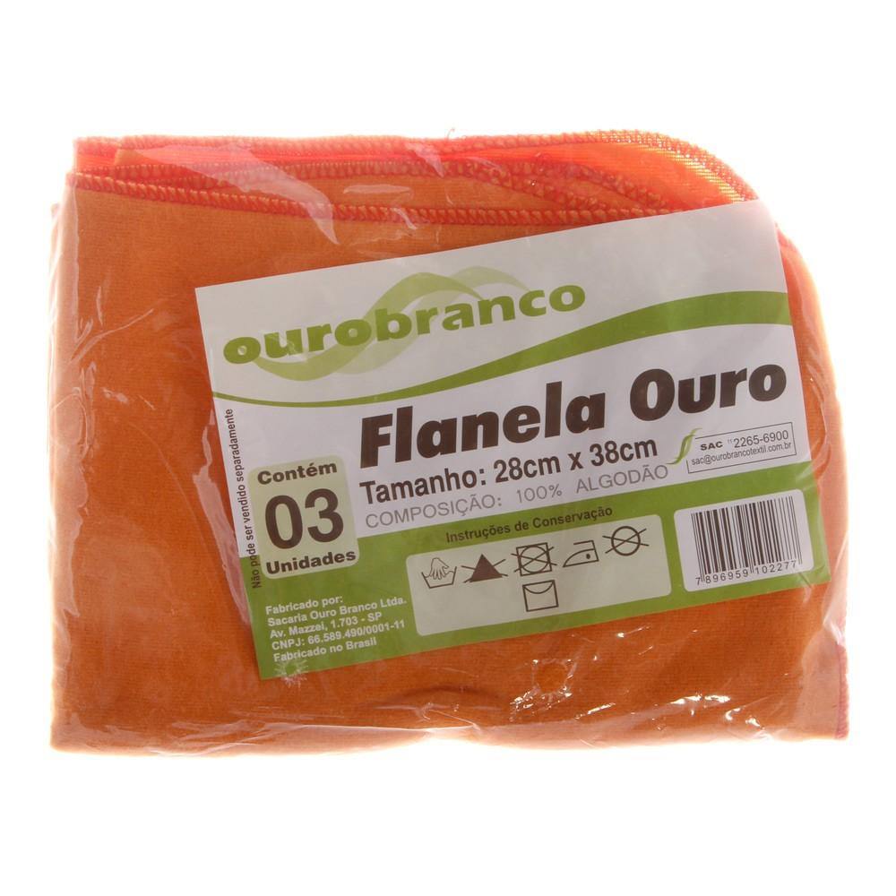 Kit de flanelas para limpeza cor laranja  Flanela Ouro
