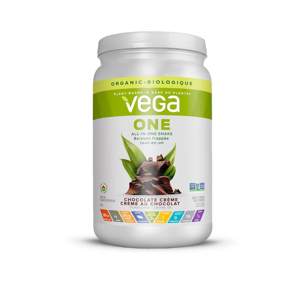 One organic, chocolate crème, plant protein