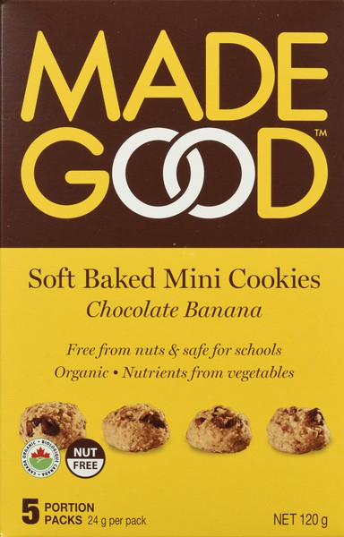 Soft baked mini cookies chocolate banana