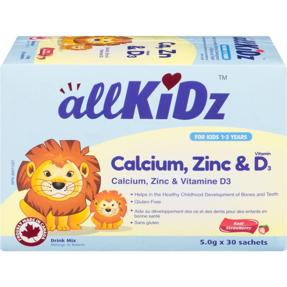 Calcium zinc & vitamin D3 strawberry drink mix