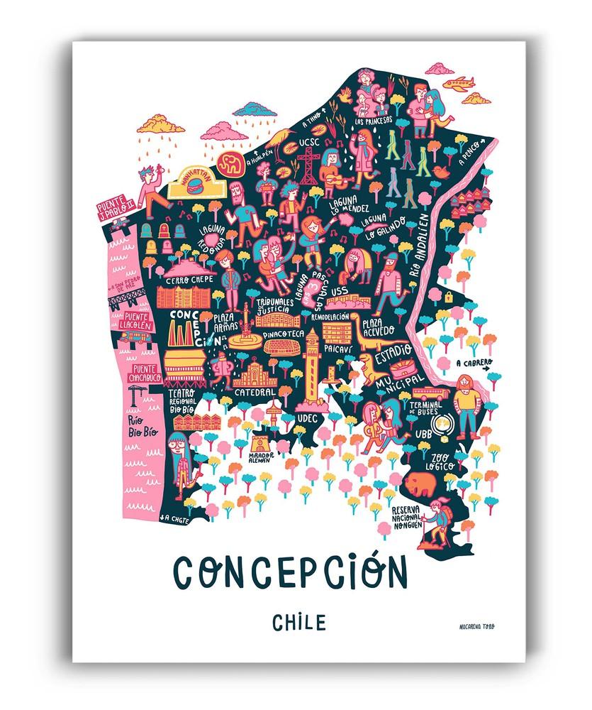 Mapa de concepción ilustrado