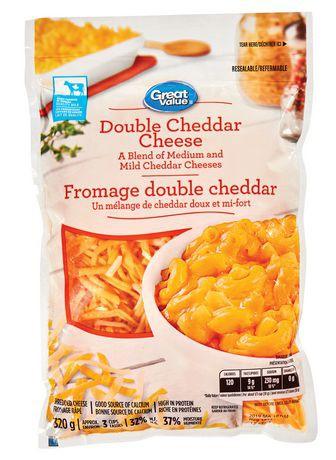 Shredded double cheddar cheese