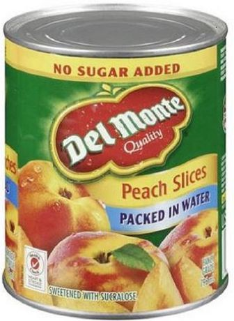 Sweetened packed in water peach slices