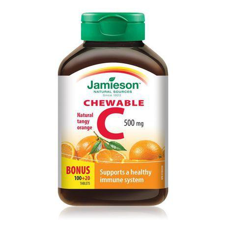 Jamieson Laboratories Jamieson Natural Tangy Orange Vitamin C Chewable Tablets, 500 mg
