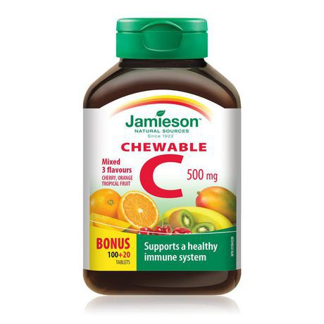 Jamieson Delicious Chewable Formula Vitamin C Mixed 3 Flavours Tablets, 500 mg