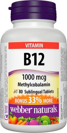 Webber Naturals® Vitamin B12 Methylcobalamin,  1000 mcg