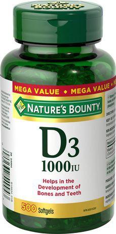 Nature's Bounty Vitamin D 1000IU Value Size Softgels