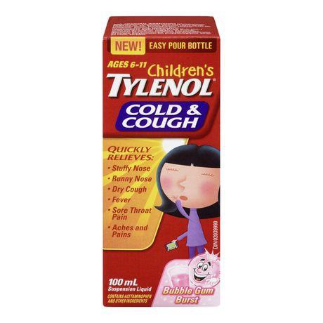 Children's Tylenol® Cold & Cough Suspension Liquid, Bubble Gum Burst, 100 ml