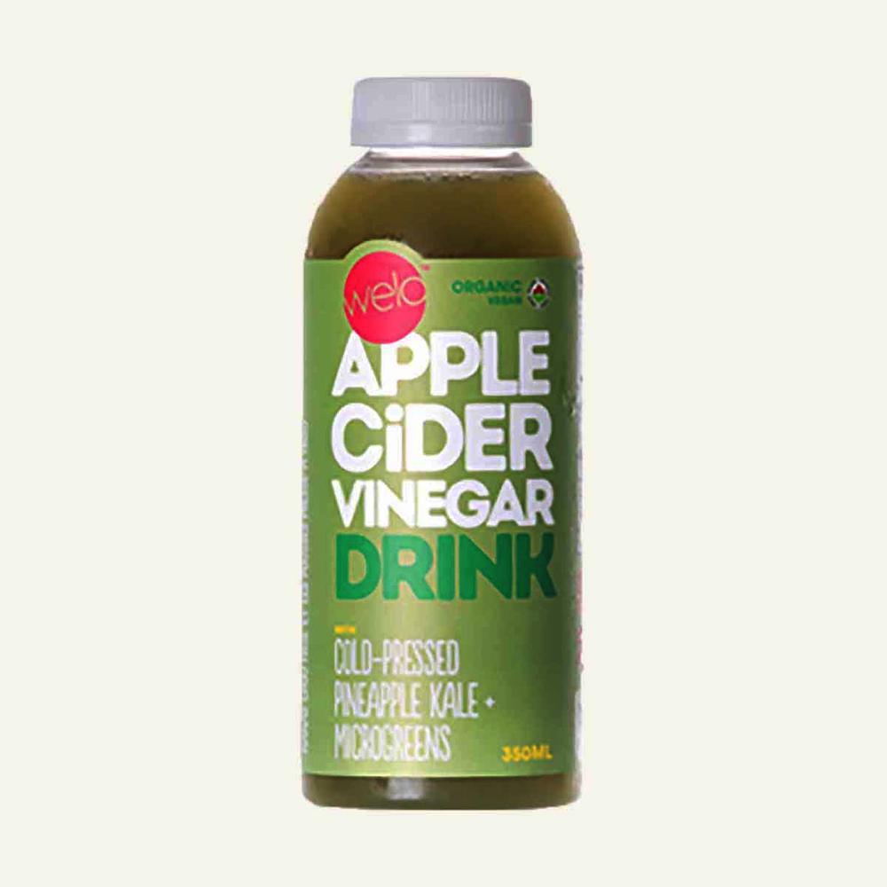 Welo Organic Apple Cider Vinegar Drink with Cold Pressed Pineapple Kale Plus Microgreens