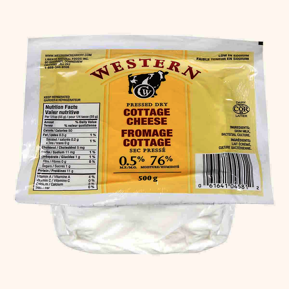 Western Creamery Pressed Dry Cottage Cheese, No Salt