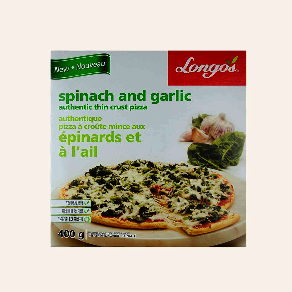 Longo's Spinach And Garlic Authentic Thin Crust Pizza