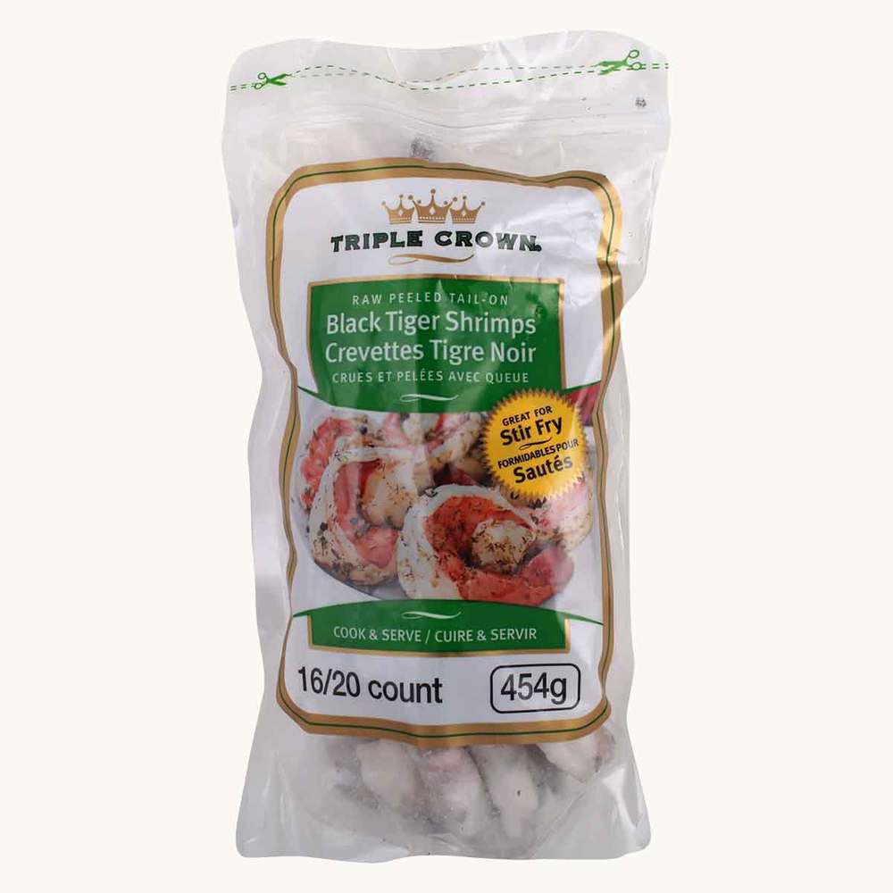Triple Crown Raw Tail-On Black Tiger Shrimp, 16 / 20 count