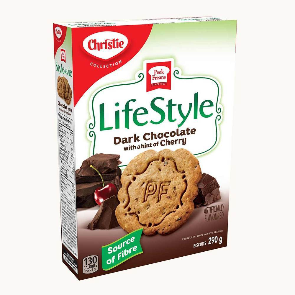Christie Peek Freans LifeStyle Selections Dark Chocolate Cherry Biscuits