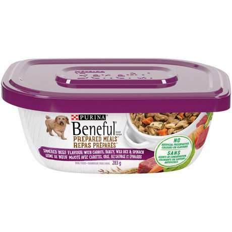 Prepared meals simmered beef flavour dog food