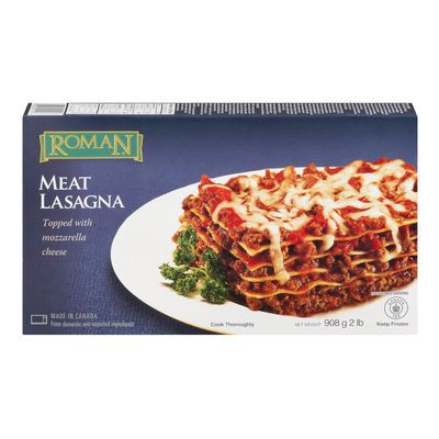Frozen meat and mozzarella flavoured lasagna