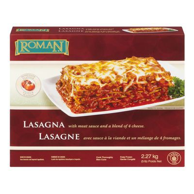 Frozen meat and cheese flavoured lasagna