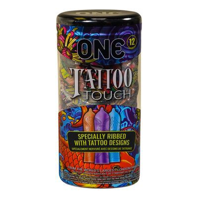 Tattooed touch latex lubricated condoms, Tattoo Touch