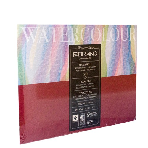 Block para acuarela fabriano watercolour 200 g 30x40 cm