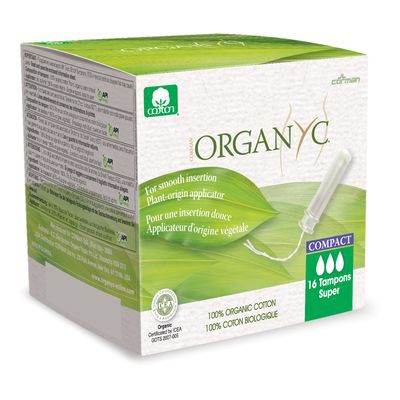Super organic cotton tampons with compact applicator