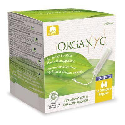 Regular organic cotton tampons with compact applicator